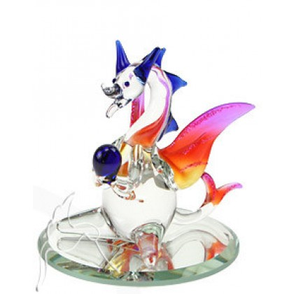 Art Glass Mini Baby Dragon Figurine on Mirror Base