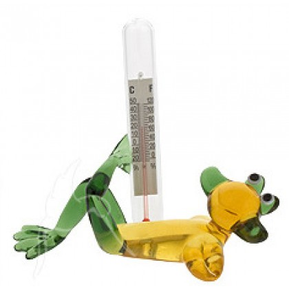 Art Glass Figurine Laying Frog with Thermometer