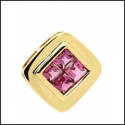 Pendant 9ct Gold, Pink Tourmaline, Princess Cut