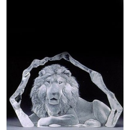 Crystal Sculpture Lion Mats Jonasson Limited Edition