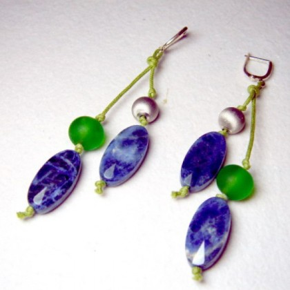 Designer Fused Glass Earrings, by JanArt Israel, Hand crafted