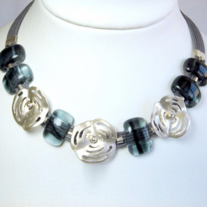 Designer Necklace, by JanArt, Sterling Silver and Fused Glass