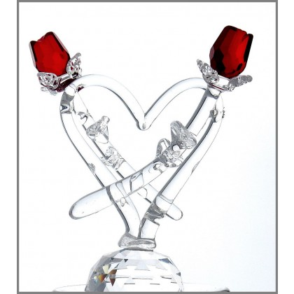 Double RED Rose in Heart Figurine