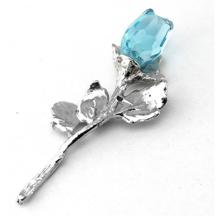 Crystal Blue Rose Figurine (Antiqued)