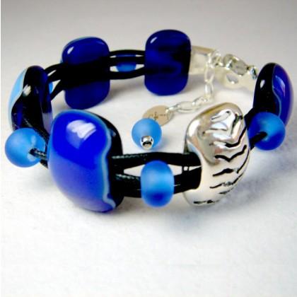 Woman's Blue Designer Bracelet, Jan Art Jewelry