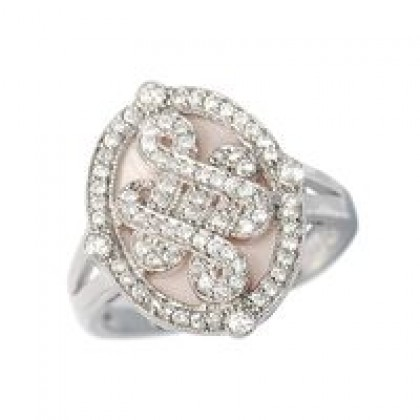 Sterling Silver Pink Mother of Pearl Cz Dress Ring