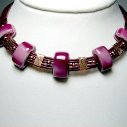 JanArt Necklace, Fused Glass, Sterling Silver and Silk Cord.
