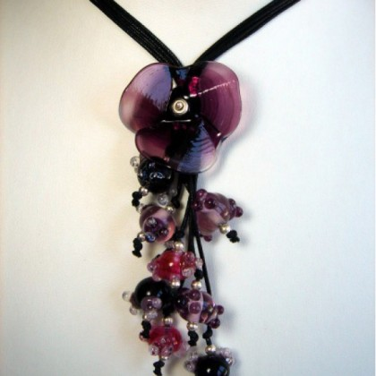 Designer Necklace, by JanArt, Fused Glass, Silk Cord and Sterling Silver Clasp