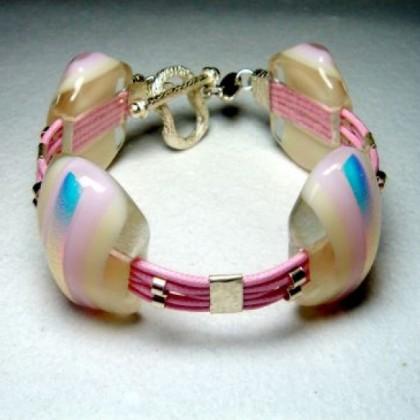 Designer Pink Glass Bracelet by Jan Art  Israel