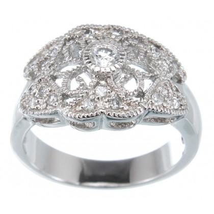 Antique Design 925 Sterling Silver Filigree Dress Ring