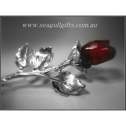 Crystal Red Rose Figurine (Antiqued)