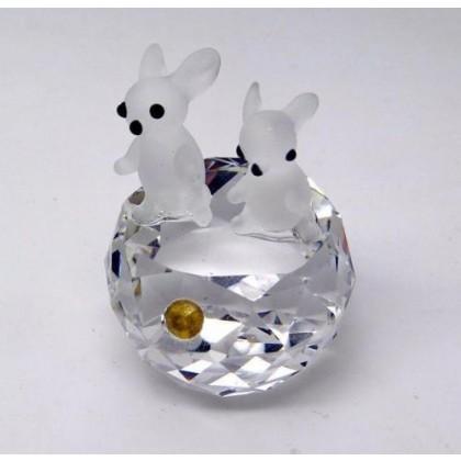 Crystal Ornament Miniature Rabbits