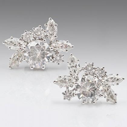 Moissanite Diamond 18ct Earrings White Gold, Stud Earrings