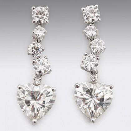 Heart Drop Moissanite Diamond Earrings 18ct White Gold