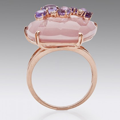 18ct Rose Gold Pink Quarts Diamond Cocktail Ring