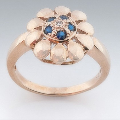 9ct Gold  Sapphire and Diamond Floral Ring