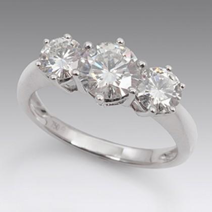 Diamond Moissanite 3 Stone Dress Ring 18ct White Gold