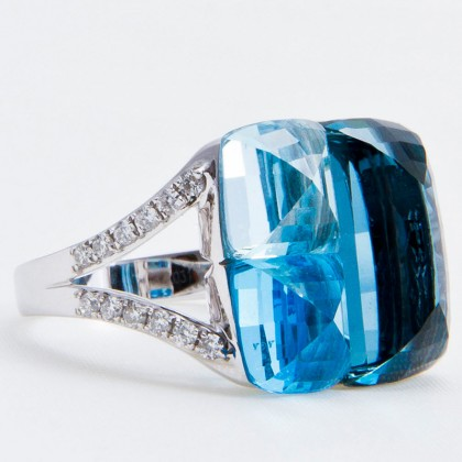 Diamond and Blue Topaz Cocktail Ring, 18ct White Gold