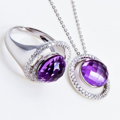 White Gold Ring and Pendant set, 18ct,  Amethyst and Diamonds