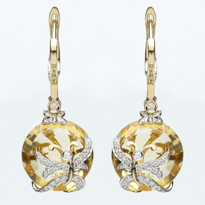 18ct Yellow Gold Diamond and Citrine Earrings
