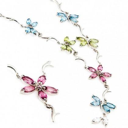 9k White Gold Multi Gemstone Pendant Necklace