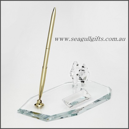 Crystal Desk Set  with Business Card Holder