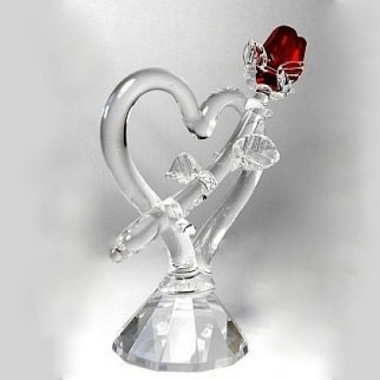 Red Rose Heart Crystal Figurine