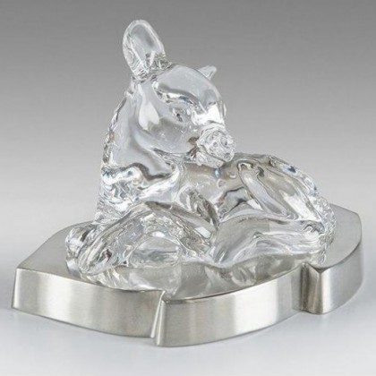 Crystal Deer Figurine on Solid Pewter Base