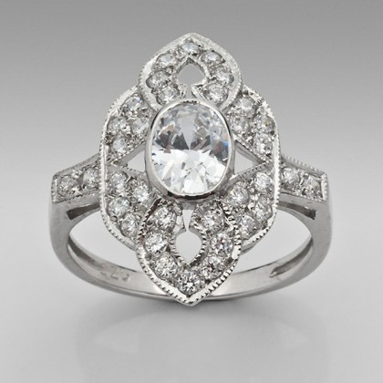 Sterling Silver Antique Inspired Cubic Zirconia Dress Ring