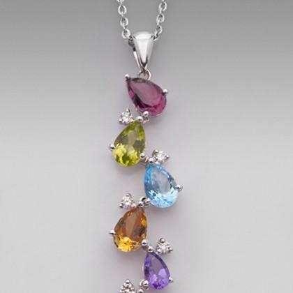 18ct White Gold Multi Gemstone Pendant Necklace