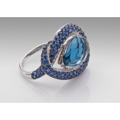 18ct White Gold Cocktail Ring, Blue Topaz Sapphire and Diamonds