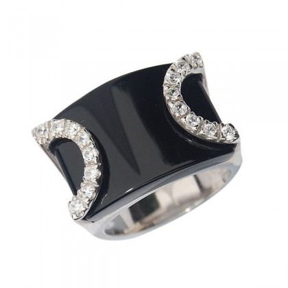 Sterling Silver Ring in Black Onyx and Cz