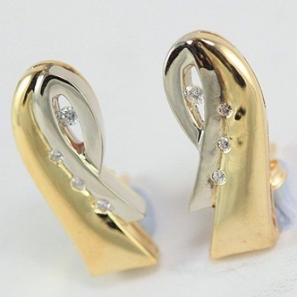 White and Yellow Two Tone Gold Earrings with 3 High Quality Diamonds
