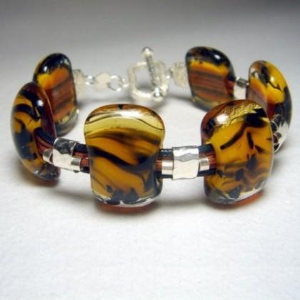 Black and Gold Fused Glass Bracelet by JanArt Israel