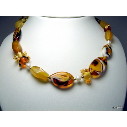 Designer Necklace Fused Art Glass, Made in Israel