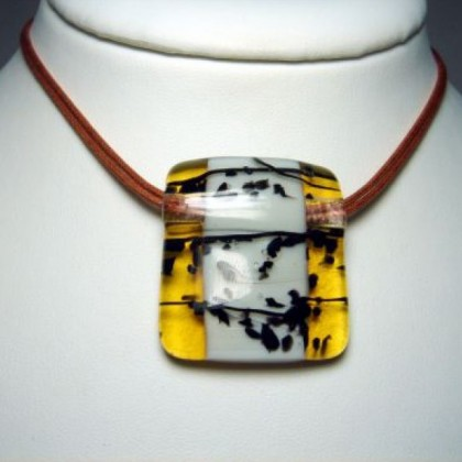 Designer Necklace, Jewellery by JanArt,Made in Israel, Fused Glass
