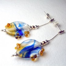 Loading image - Beautiful Blue Fused Art Glass Drop Earrings