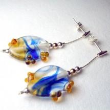 Loading image - Beautiful Blue Fused Art Glass Drop Earrings