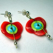 Designer Earrings by JanArt, Fused Glass and Sterling Silver