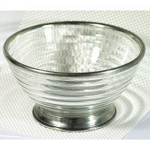 Loading image - Antiqued Decor Glass Bowl Made In Italy, Solid Pewter Base and Rim
