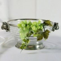 Antiqued Large Grape Glass and Pewter Bowl with Grape Handles