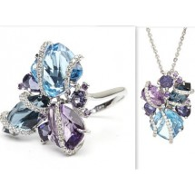 18ct Ring and Pendant set, White Gold Diamonds, Topaz Amethyst and Iolite Ring and Pendant