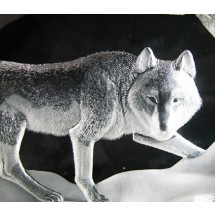 Crystal Sculpture Mats Jonasson Running Wolf