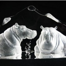 Loading image - Mats Jonasson Crystal Two Hippos Bathing Limited Edition
