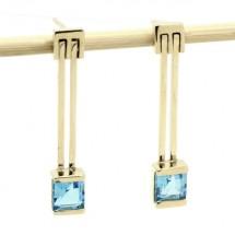 Loading image - 9k Gold Blue Topaz Drop Earrings