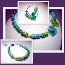 Loading image - Designer Necklace, Bracelet ,Earring Set by Jan Art Israel