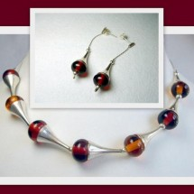 Loading image - Fused Glass Jewellery Necklace and Earring Set Janart Israel