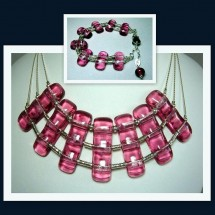 Loading image - Designer Necklace and Bracelet Set, Fused Glass and Sterling Silver