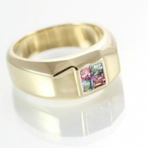 Unisex 9ct Yellow Gold Multi Gem Dress Ring