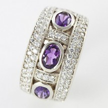 Loading image - Unisex 9ct White Gold Amethyst and CZ Dress Ring